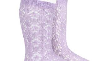 Lilac Geometric Open Work Cotton Knee High Socks