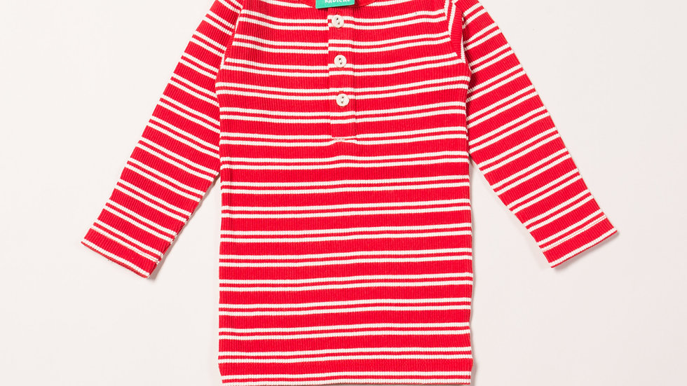 Little Green Radicals Long Sleeve Red Striped Rib Top