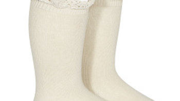 Condor Linen Cotton Lace Knee High Socks
