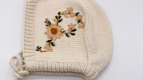 Penoora's Pippa Embroidered Cotton Knitted Bonnet