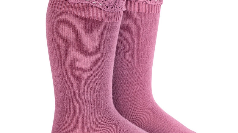 Condor Cassis Knee High Lace Top Socks