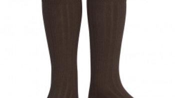 Condor Marron Knee High Cotton Rib Socks