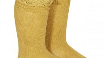 Condor Mustard Cotton Lace Knee High Socks