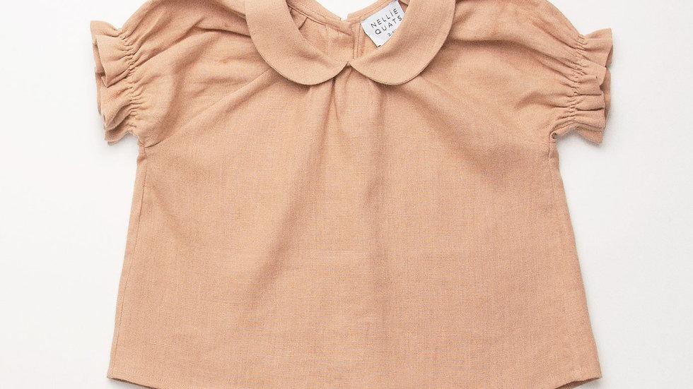 Nellie Quats Duck Duck Goose Blouse Clay Linen