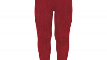 Condor Cherry Red Cotton Rib Tights