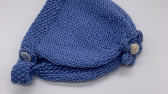 Hand Knitted Forget-Me-Not Flower Bonnet