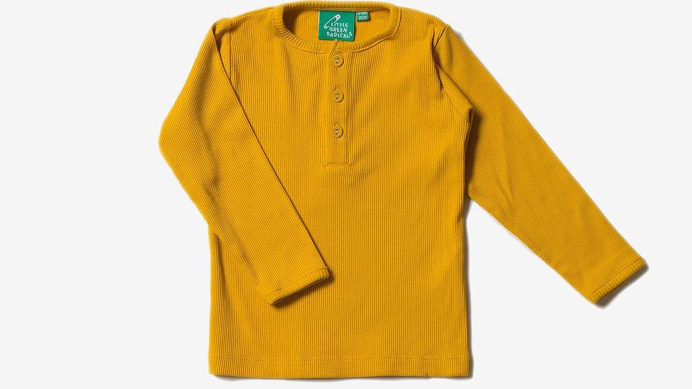 Little Green Radicals Saffron Cotton Rib Long Sleeve Top