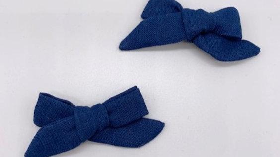 Runaround Retro Prussian Blue Linen Twin Hair Bows