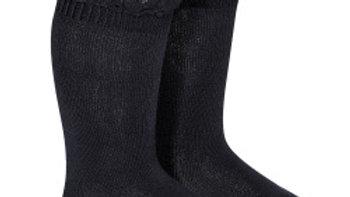 Condor Navy Cotton Lace Trim Knee High Socks