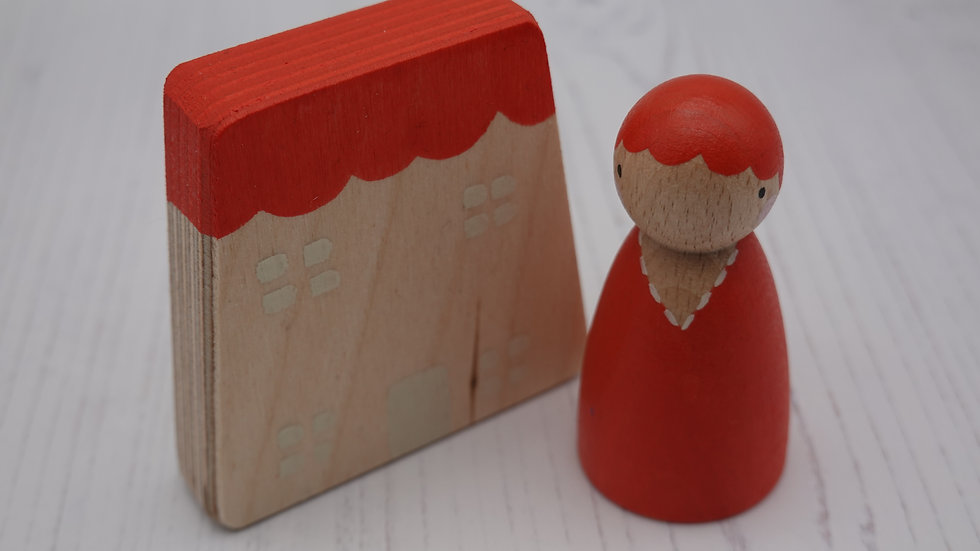 Red Wooden Peg Person and House Set