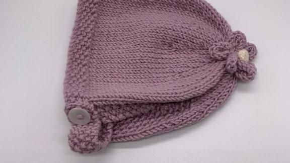 Hand Knitted Dusky Rose Flower Bonnet