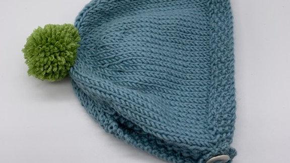 Hand Knitted Sky Blue Pom Pom  Baby Bonnet