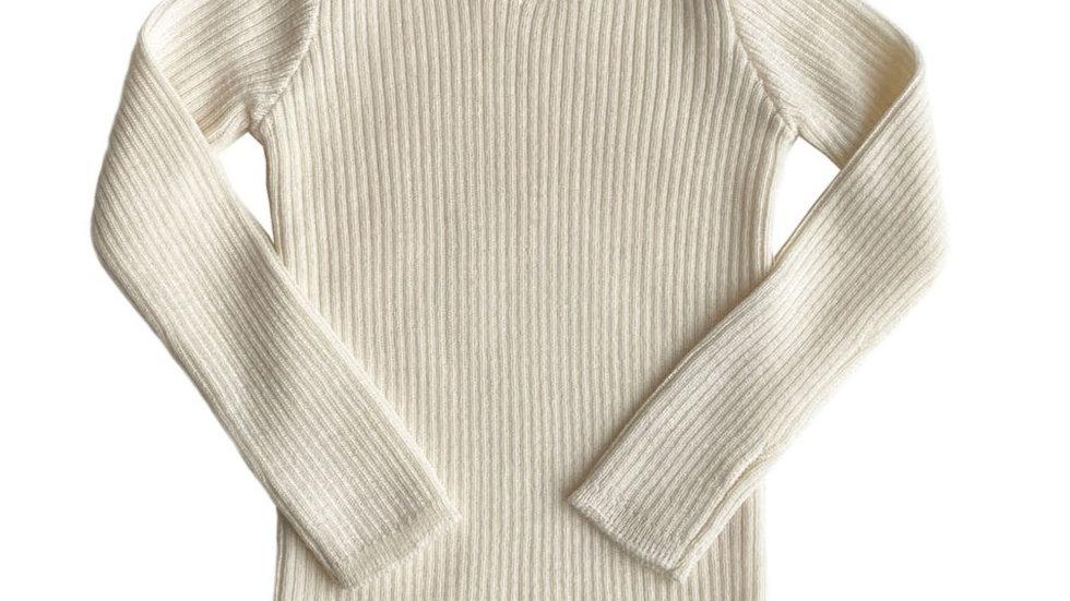 Mabli Sylfaen Ivory Merino Wool Rib Jumper