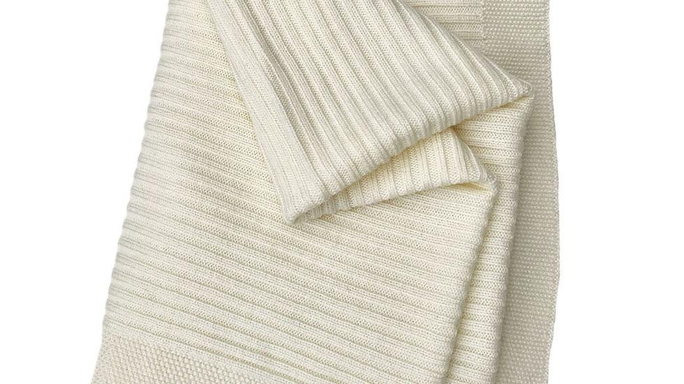 Ivory Fine Merino Wool Baby Shawl