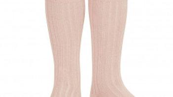 Condor Powder Rose Knee High Cotton Rib Socks