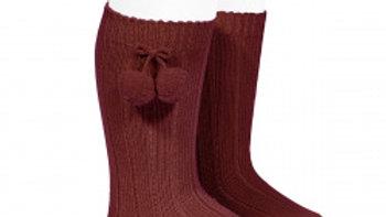 Condor Pom Pom Burgundy   Knee High Socks