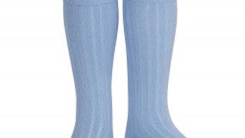 Condor Bluish Knee High Cotton Rib Socks