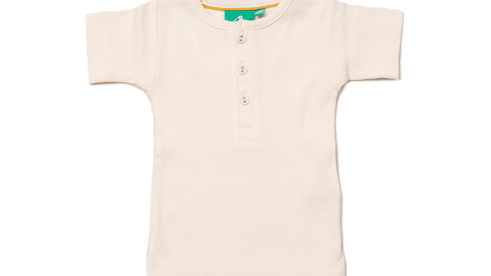 Little Green Radicals Cream Cotton Rib T Shirt