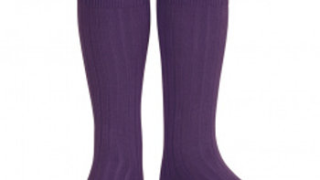 Condor Aubergine Knee High Cotton Rib Socks
