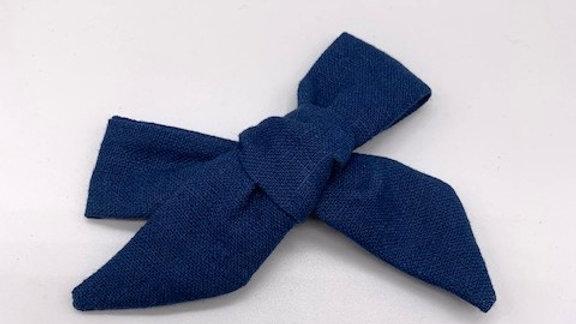 Runaround Retro Prussian Blue Linen Over Size  Hair Bow