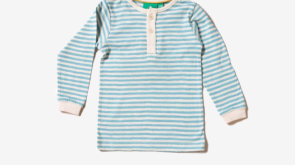 Little Green Radicals Cornish Blue & White Long Sleeve Striped Tee