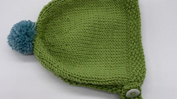Hand Knitted Green Pom Pom  Baby Bonnet