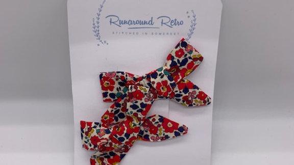 Runaround Retro Liberty Betsy Red Tana Lawn Twin Hair Bows