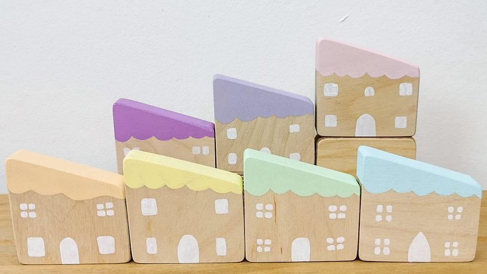 Hellion Toys Pastel Wooden Houses Se