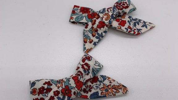 Liberty Wisley Flowers Twin Hair Bows
