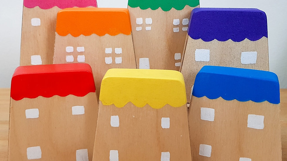 Hellion Toys Rainbow Wooden Houses Set