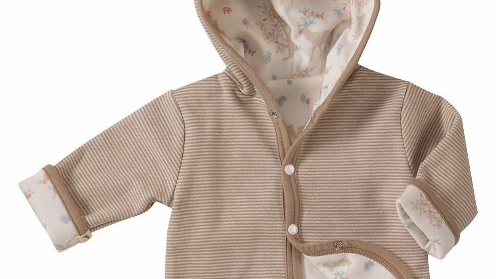 Pigeon Organics Hooded  Reversible Jacket Taupe and Woodland