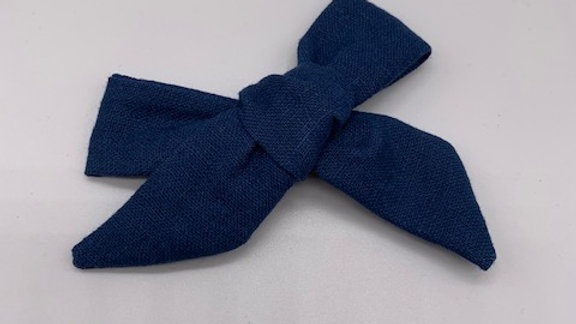 Prussian Blue Linen Over Size  Hair Bow