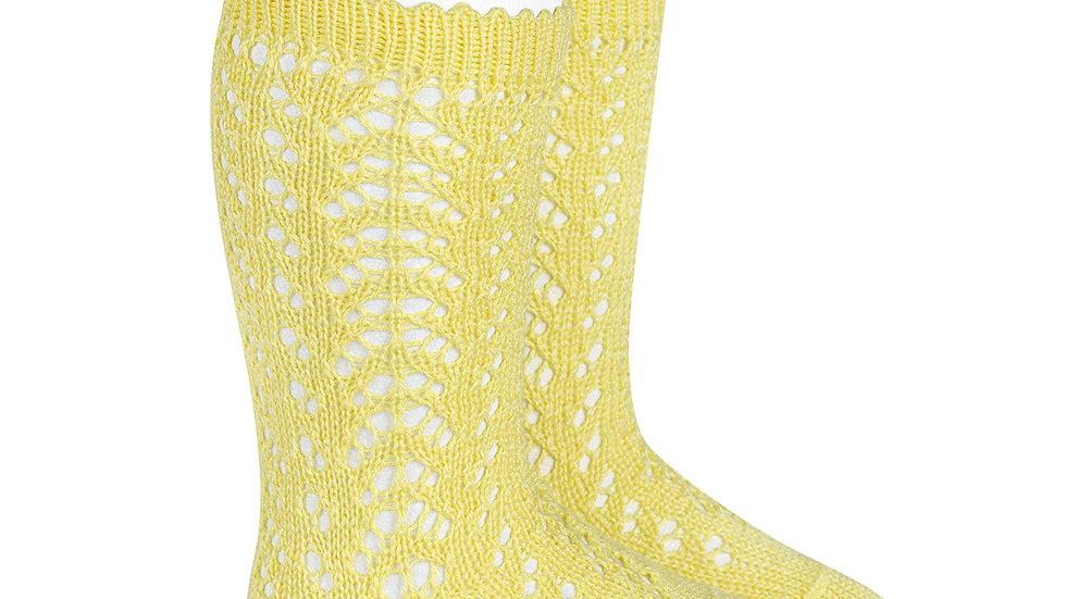 Condor Limoncello Open Work Cotton Knee High Socks