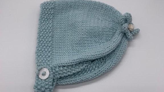 Hand Knitted Delphinium Flower Bonnet