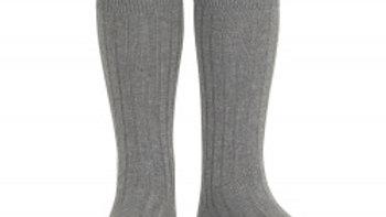 Condor Grey Knee High Cotton Rib Socks