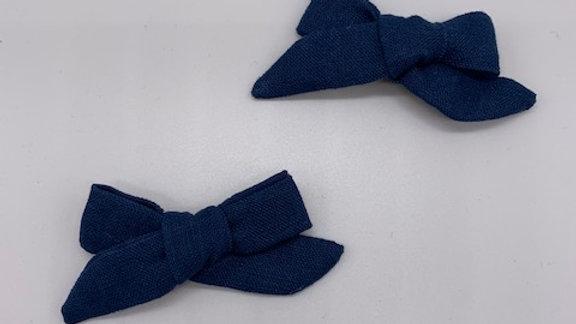 Prussian Blue Linen Twin Hair Bows