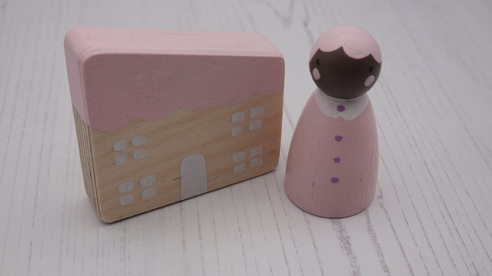 Pale Pink Wooden Peg Person and House Set