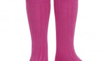 Condor Fuchsia Knee High Cotton Rib Socks