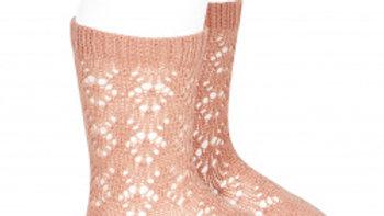 Condor Peony Geometric Open Work Cotton Knee High Socks