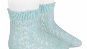 Aquamarine Open Work Cotton Ankle Sock
