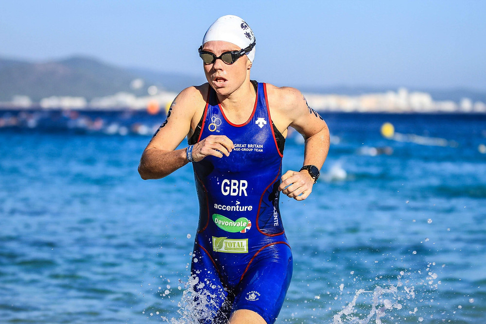 Kerri-Ann Upham coming out of the 6km Swim stage