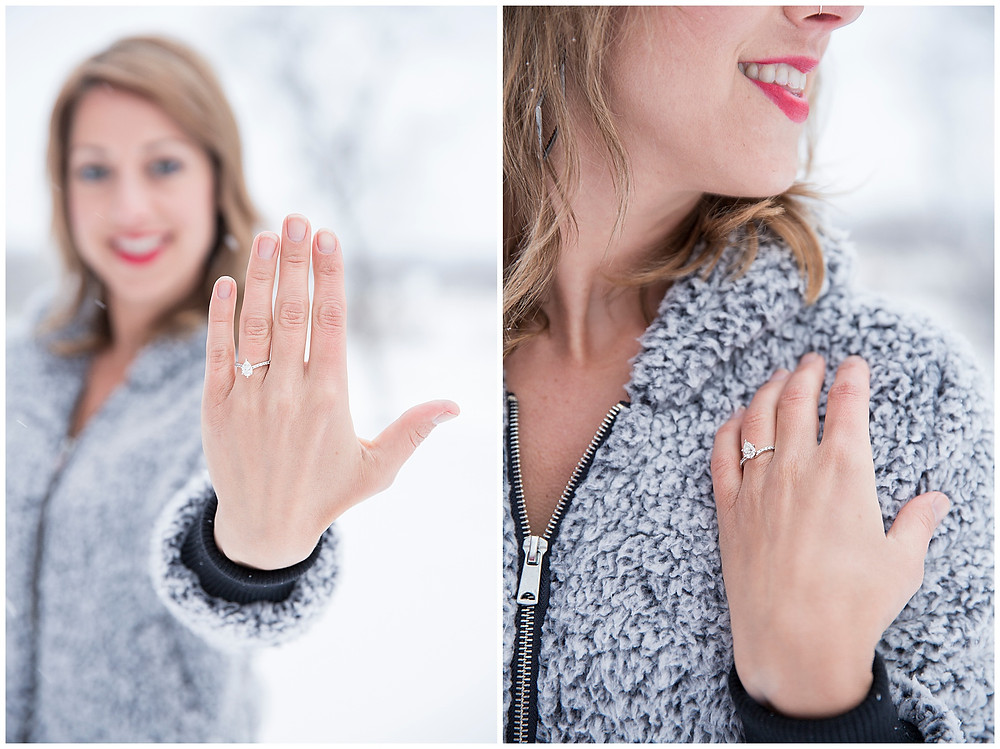 Wild Elegance: Snowy Winter Engagement Session in Wisconsin, Wedding in Colorado, Engagement Ring