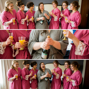 getting ready, wedding day, champagne, bridesmaids, robes, wedding guest, wedding invitation, wedding pictures