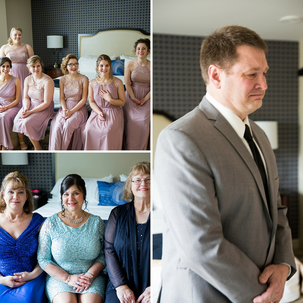 first look, father of the bride, mother of the bride, bridesmaids, reveal, wedding day, wisconsin wedding, wisconsin wedding photographer