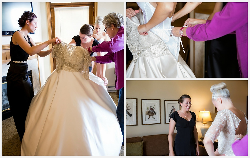 The bride gets ready and puts on her wedding dress.