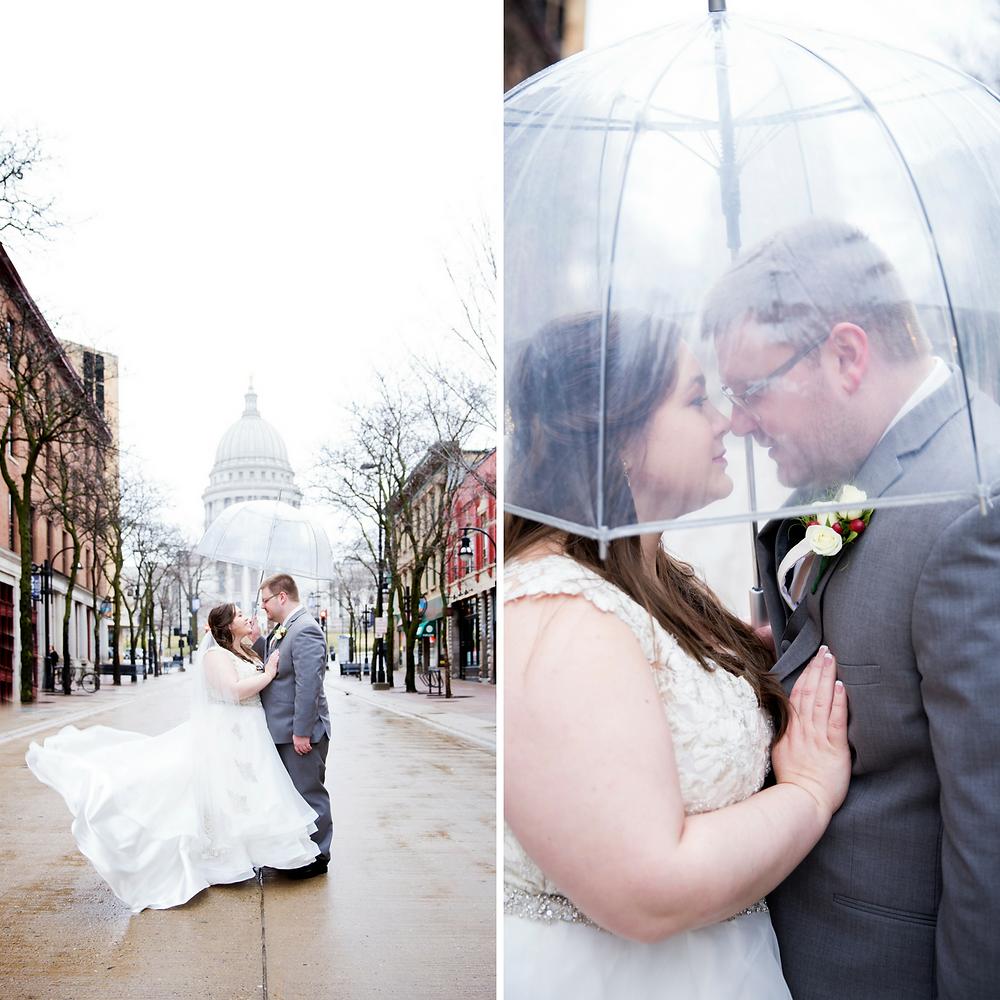 wedding, snow, snowstorm, umbrella, madison, urban
