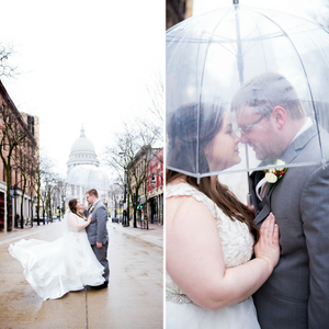 wedding, snow, snowstorm, umbrella, madison, urban