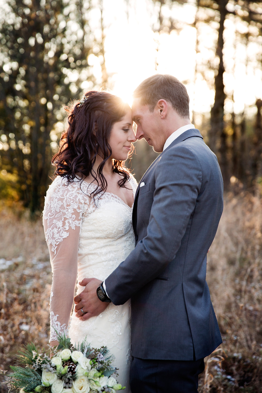 sunset, golden hour, bride, groom, wedding, photography