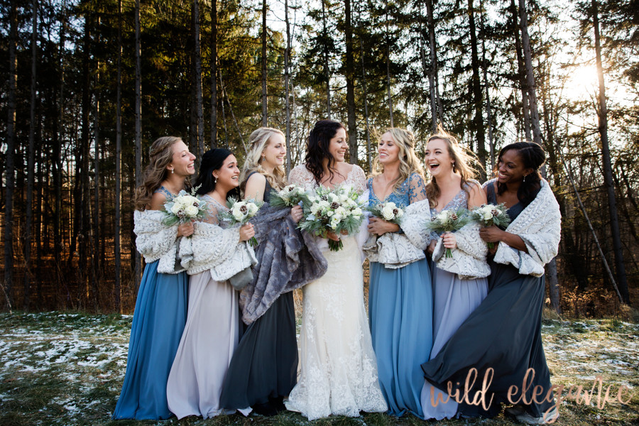 winter wedding, wisconsin, dusty blue, bridesmaids, bride, wedding day, photography