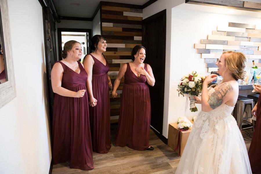 bridesmaids, reveal, wedding dress, wedding day, bouquet, tattoos